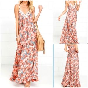 Lulu's Mahalo My Dear Orange Print Maxi Dress